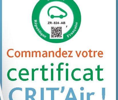 Certificat qualité de l'air (Crit'air)