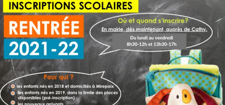 Inscriptions Écoles Année 2021 / 2022